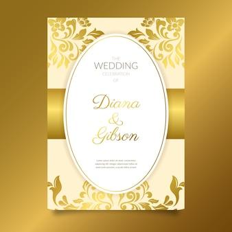 Złoty elegancki adamaszku szablon zaproszenia ślubne
