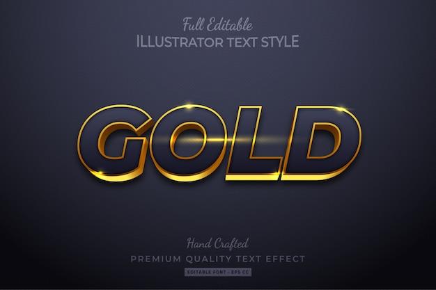 Złoty elegancki edytowalny efekt stylu tekstu 3d premium