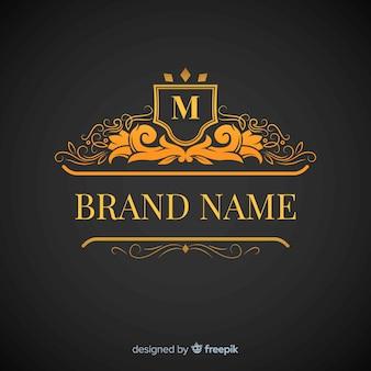 Złoty elegancki logo płaski styl