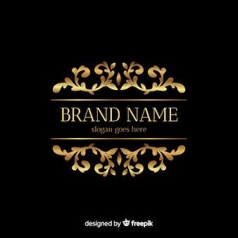Złoty elegancki logo szablon z ornamentami