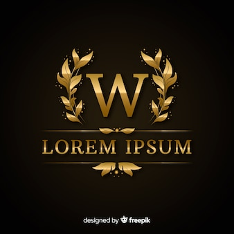 Złoty elegancki luksusowy logo szablon