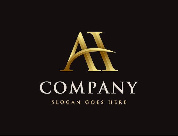 Złoty elegancki monogram list ah logo ikona szablon