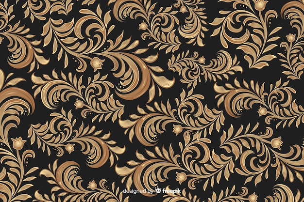 Złoty elegancki ornamentacyjny kwiecisty tło