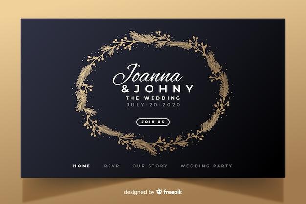 Złoty elegancki ślubny strona docelowa szablon