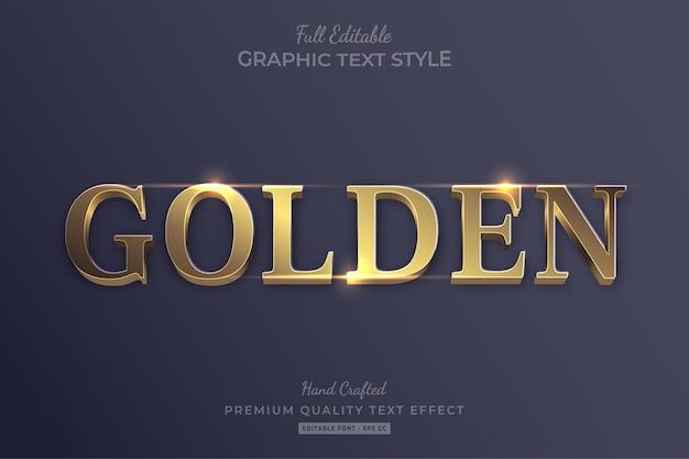 Złoty elegancki styl czcionki efektu edytowalnego tekstu