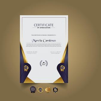 Złoty elegancki szablon certyfikatu