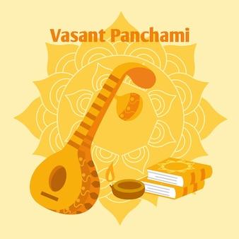 Złoty gitara instrument ręcznie rysowane szczęśliwy saraswati