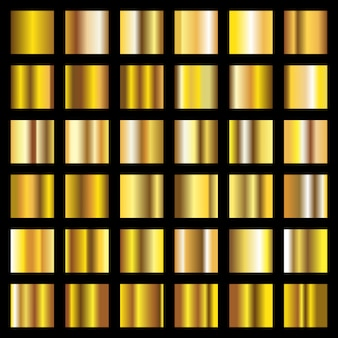 Złoty gradient. kolekcja złotych metalowych kwadratów