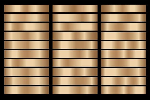 Złoty gradient zestaw tło wektor ikona tekstury metaliczny ilustracja dla ramki, wstążki, banera, monety i etykiety.