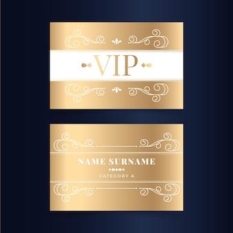 Złoty gradientowy szablon karty vip