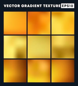 Złoty Gradientowy Tekstury Tła Set Premium Wektorów