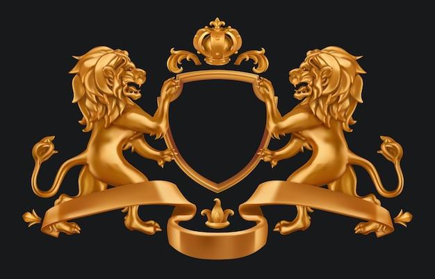 Złoty herb lwów i korona. tarcza 3d na blak
