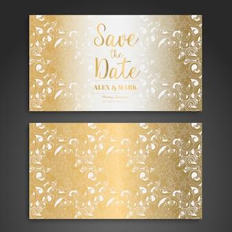 Złoty i biały projekt karty ślubnej