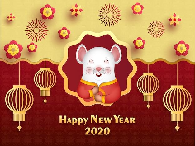 Złoty i czerwony bezszwowy chiński symbol ozdobiony wiszącymi papierowymi latarniami, kwiatami i szczęśliwym kreskówkowym szczurem na obchody chińskiego nowego roku 2020.