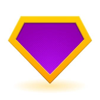 Złoty i fioletowy szablon logo superbohatera.