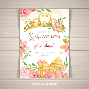 Złoty i kwiatowy zaproszenie party quinceañera