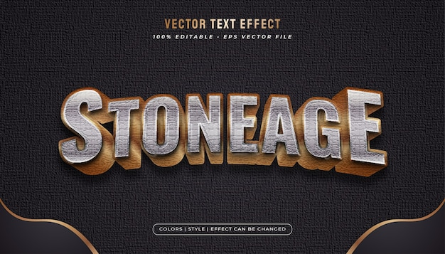 Złoty i metalowy styl tekstu z efektem tekstury kamienia