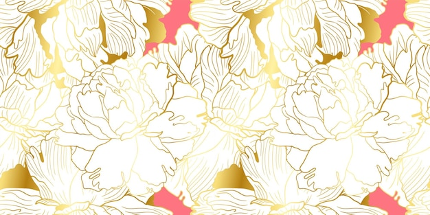 Złoty i miękki różowy wzór piwonii
