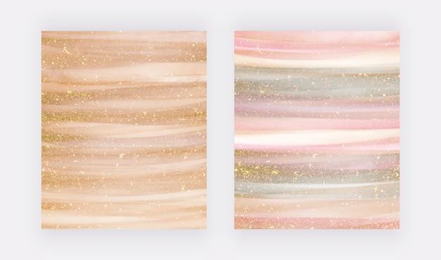 Złoty i różowo-złoty płynny marmur o fakturze brokatu