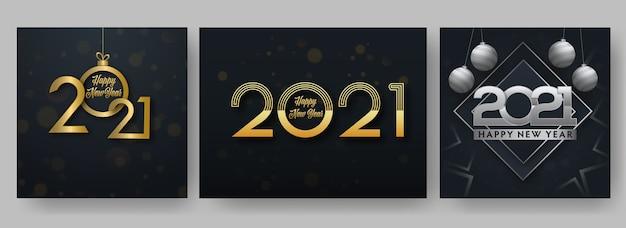 Złoty i srebrny 2021 szczęśliwego nowego roku tekst na czarnym tle w trzech opcjach