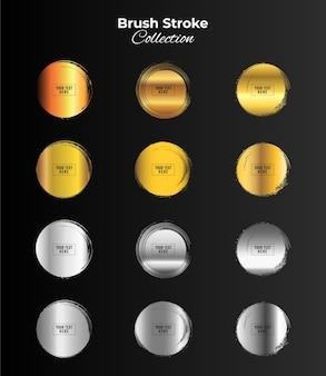 Złoty i srebrny kolor ramki koło grunge