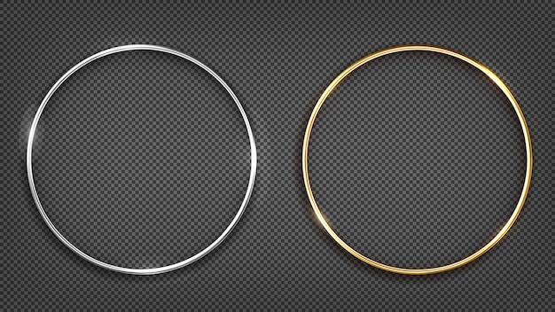 Złoty i srebrny pierścionek. okrągły banner.
