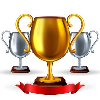 Złoty i srebrny realistyczny puchar trofeum