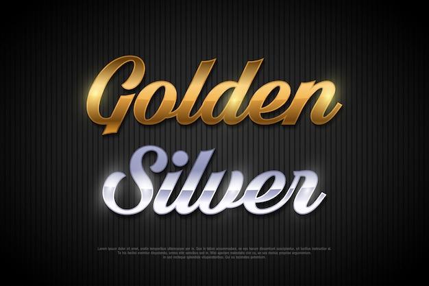 Złoty i srebrny styl litery