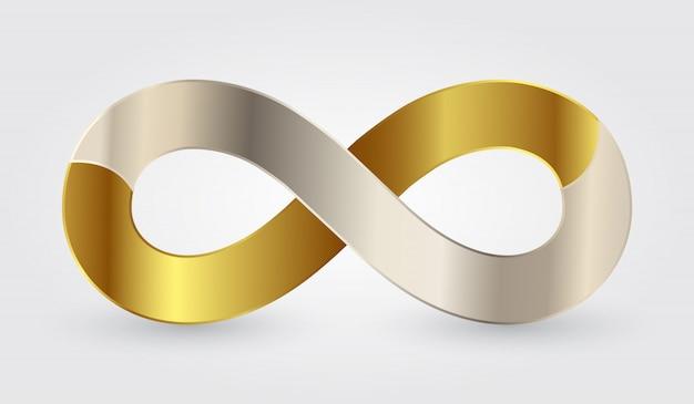 Złoty i srebrny symbol nieskończoności