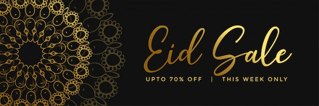 Złoty islamski mandala stylu eid sprzedaży sztandar