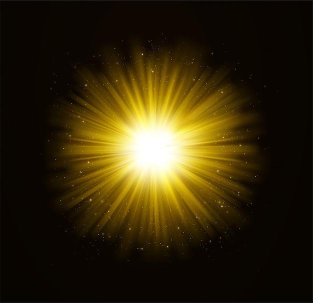Złoty jasny efekt świetlny z gwiazdami.