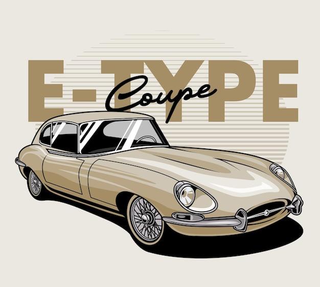Złoty klasyczny samochód coupe