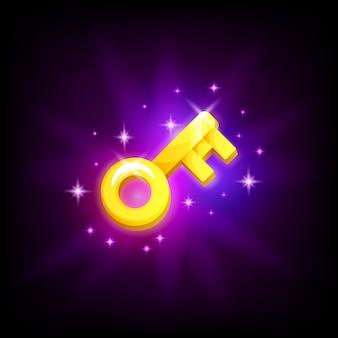 Złoty klucz ikona gry mobilnej hasło symbol na ciemnym tle. styl kreskówkowy