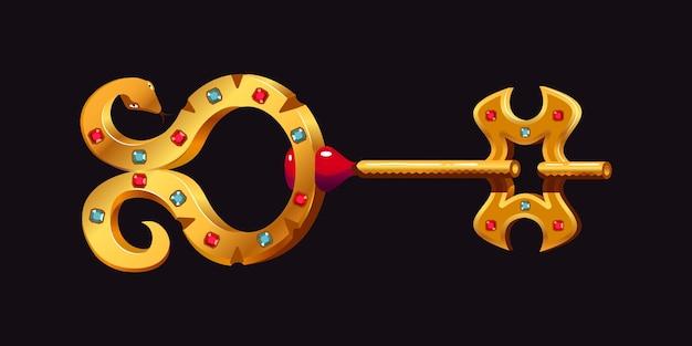 Złoty klucz w postaci złotego węża z ilustracją kamieni szlachetnych