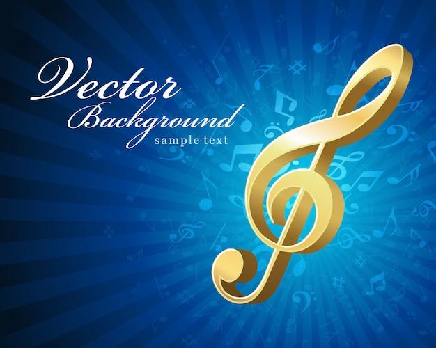 Złoty klucz wiolinowy napis nutach tło