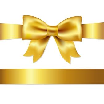 Złoty kokarda, samodzielnie na białym tle, ilustracji