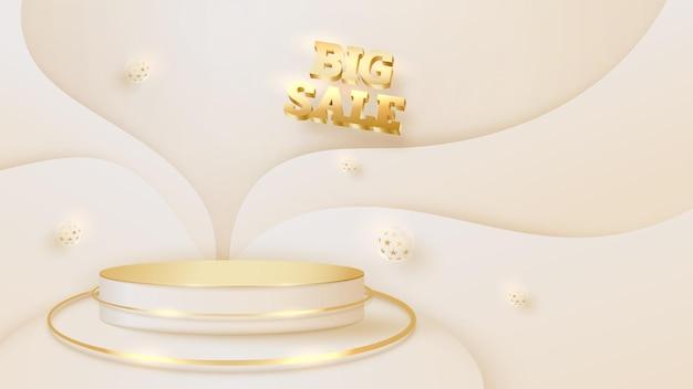 Złoty kolor podium z luksusowym elementem kulowym, tło koncepcja duży dzień sprzedaży, pusta przestrzeń do umieszczania produktów lub tekstu do reklamy. ilustracja wektorowa 3d.