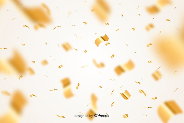 Złoty konfetti realistyczny styl tło