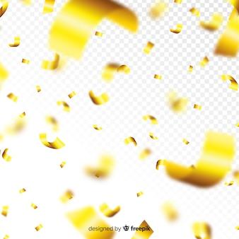 Złoty konfetti spada dekoracyjne tło