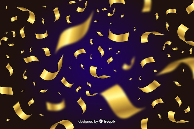 Złoty konfetti tło na czarnym tle