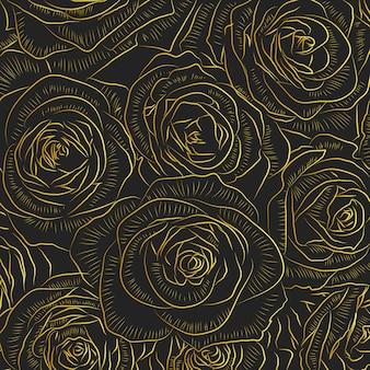 Złoty kontur róży kwiaty na czarnym tle