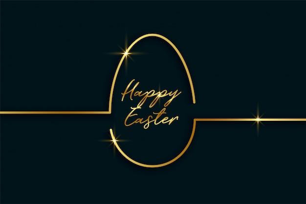 Złoty kreskowy styl easter dnia jajka tło