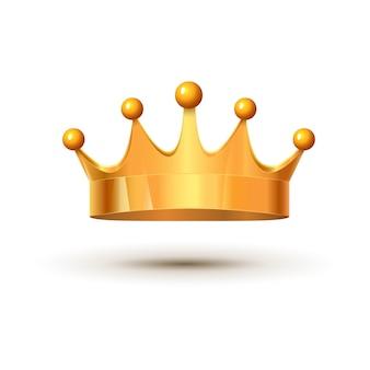 Złoty król korony królewski luksus na białym tle