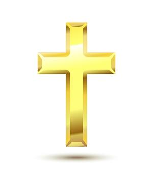Złoty krzyż chrześcijański na białym tle