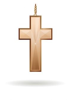 Złoty krzyż na złotym łańcuchu na białym tle