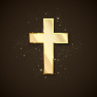 Złoty krzyż symbol chrześcijaństwa. święty krzyż metalowy
