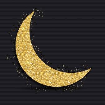 Złoty księżyc na festiwalu społeczności muzułmańskiej ramadan kareem. eid mubarak.