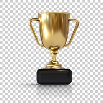 Złoty kubek, na białym tle obiekt 3d. element do turniejów sportowych i innych wydarzeń. symbol zwycięstwa i sukcesu.