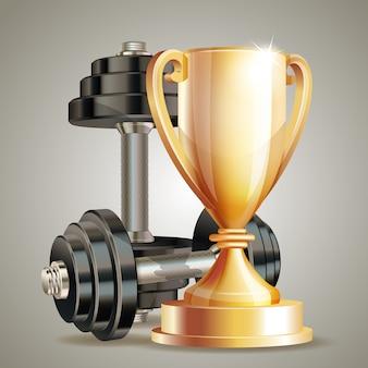 Złoty kubek z metalowymi realistycznymi hantlami. symbol mistrza fitness. realistyczne.