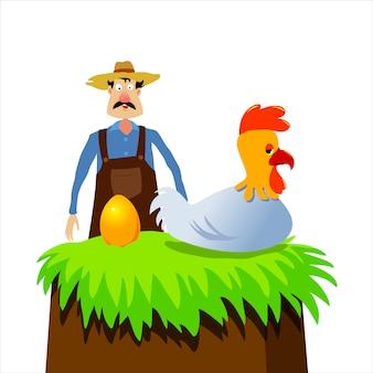 Złoty kurczak i rolnik, bajka.